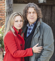 Jonathan Creek. Image shows from L to R: Polly Creek (Sarah Alexander), Jonathan Creek (Alan Davies). Image credit: British Broadcasting Corporation.