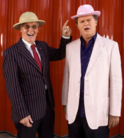 Just A Minute. Image shows from L to R: Nicholas Parsons, Paul Merton. Image credit: British Broadcasting Corporation.