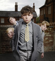 Just William. Image shows from L to R: Henry (Robert Foster), Douglas (Edward Piercy), William Brown (Daniel Roche), Ginger (Jordan Grehs). Image credit: British Broadcasting Corporation.