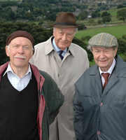 Last Of The Summer Wine. Image shows from L to R: Alvin Smedley (Brian Murphy), Herbert 'Truly' Truelove (Frank Thornton), Norman Clegg (Peter Sallis). Image credit: British Broadcasting Corporation.