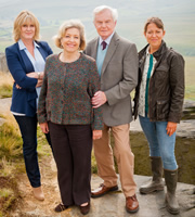 Last Tango In Halifax. Image shows from L to R: Caroline (Sarah Lancashire), Celia (Anne Reid), Alan (Derek Jacobi), Gillian (Nicola Walker). Image credit: Red Production Company.
