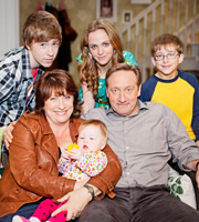 Life Of Riley. Image shows from L to R: Danny Riley (Taylor Fawcett), Maddy Riley (Caroline Quentin), Katy Riley (Lucinda Dryzek), Jim Riley (Neil Dudgeon), Ted Jackson (Patrick Nolan). Image credit: Catherine Bailey Productions Limited.