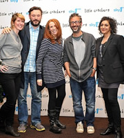 Little Crackers. Image shows from L to R: Julia Davis, Julian Barratt, Catherine Tate, David Baddiel, Meera Syal. Image credit: PA.