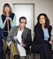 Love In Recovery. Image shows from L to R: Marion (Julia Deakin), Simon (John Hannah), Fiona (Rebecca Front). Image credit: Lucky Giant.