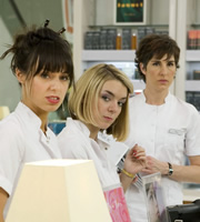 Love Soup. Image shows from L to R: Milly Russell (Montserrat Lombard), Cleo Martin (Sheridan Smith), Alice Chenery (Tamsin Greig). Image credit: British Broadcasting Corporation.