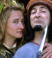 Maid Marian And Her Merry Men. Image shows from L to R: Maid Marian (Kate Lonergan), The Sheriff of Nottingham (Tony Robinson). Image credit: British Broadcasting Corporation.