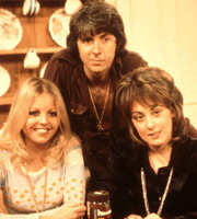 Man About The House. Image shows from L to R: Jo (Sally Thomsett), Robin Tripp (Richard O'Sullivan), Chrissy Plummer (Paula Wilcox). Image credit: Thames Television.