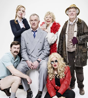 Man Down. Image shows from L to R: Brian (Mike Wozniak), Emma (Jeany Spark), Dan (Greg Davies), Mum (Gwyneth Powell), Jo (Roisin Conaty), Nesta (Stephanie Cole). Image credit: Avalon Television.