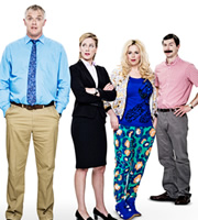 Man Down. Image shows from L to R: Dan (Greg Davies), Emma (Jeany Spark), Jo (Roisin Conaty), Brian (Mike Wozniak). Image credit: Avalon Television.