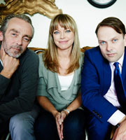 Marley's Ghosts. Image shows from L to R: Adam (John Hannah), Marley (Sarah Alexander), Michael Walton (Nicholas Burns). Image credit: John Stanley Productions.