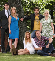 Married Single Other. Image shows from L to R: Clint (Ralf Little), Abbey (Miranda Raison), Lillie (Lucy Davis), Dickie (Dean Lennox Kelly), Eddie (Shaun Dooley), Babs (Amanda Abbington). Image credit: Left Bank Pictures.