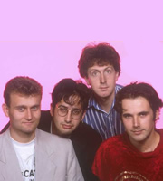 The Mary Whitehouse Experience. Image shows from L to R: Hugh Dennis, David Baddiel, Steve Punt, Robert Newman. Image credit: British Broadcasting Corporation.