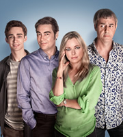 Me And Mrs Jones. Image shows from L to R: Billy (Robert Sheehan), Tom Marshall (Nathaniel Parker), Gemma Jones (Sarah Alexander), Jason Jones (Neil Morrissey). Image credit: Hartswood Films Ltd.