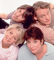 Men Behaving Badly. Image shows from L to R: Deborah (Leslie Ash), Tony Smart (Neil Morrissey), Dorothy (Caroline Quentin), Gary Strang (Martin Clunes). Image credit: Hartswood Films Ltd.