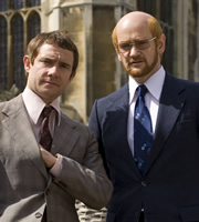 Micro Men. Image shows from L to R: Chris Curry (Martin Freeman), Sir Clive Sinclair (Alexander Armstrong). Image credit: Darlow Smithson.