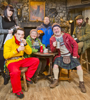 Mountain Goats. Image shows from L to R: Jules (Sharon Rooney), Conor (Kevin Guthrie), Bernie (Kathryn Howden), Ronnie Silva (Jonathan Watson), Jimmy Miller (Jimmy Chisholm), Bill (David Ireland). Copyright: BBC.