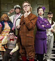 The Ministry Of Curious Stuff. Image shows from L to R: Miss Wannamaker (Rhyanna Alexander-Davis), Mr Frazernagle (Jack Carroll), Captain Length-Width (Dan Skinner), Mr Reeves (Jim Moir), Miss Teaparty (Beth Rylance), Mr Lovett (Tyger Drew-Honey). Copyright: BBC.