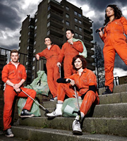 Misfits. Image shows from L to R: Alex (Matt Stokoe), Rudy (Joseph Gilgun), Finn (Nathan McMullen), Abby (Natasha O'Keeffe), Jess (Karla Crome). Image credit: Clerkenwell Films.