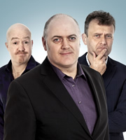 Mock The Week. Image shows from L to R: Andy Parsons, Dara O Briain, Hugh Dennis. Image credit: Angst Productions.