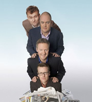 Mock The Week Looks Back At.... Image shows from L to R: Hugh Dennis, Dara O Briain, Rory Bremner, Frankie Boyle. Image credit: Angst Productions.