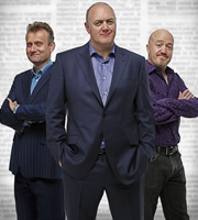 Mock The Week. Image shows from L to R: Hugh Dennis, Dara O Briain, Andy Parsons. Copyright: Angst Productions.