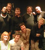 Mr Blue Sky. Image shows from L to R: Kill-R (Javone Prince), Jacqui Easter (Claire Skinner), Dr Ray Marsh (Justin Edwards), Sean Calhoun (Michael Legge), Robbie Easter (Tyger Drew-Honey), Charlie Easter (Rosamund Hanson), Harvey Easter (Mark Benton), Alan Leopold (Simon Day), Lou Easter (Sorcha Cusack). Image credit: Andrew Collins.