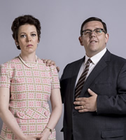 Mr. Sloane. Image shows from L to R: Janet (Olivia Colman), Mr Sloane (Nick Frost). Image credit: Whyaduck Productions.