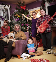 Mr Stink. Image shows from L to R: Chloe (Nell Tiger Free), Mr Stink (Hugh Bonneville), Annabelle (Isabella Blake-Thomas), Mother (Sheridan Smith), Dad (Johnny Vegas). Image credit: British Broadcasting Corporation.