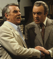 Never The Twain. Image shows from L to R: Oliver Smallbridge (Windsor Davies), Simon Peel (Donald Sinden). Image credit: Thames Television.
