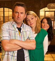 Not Going Out. Image shows from L to R: Lee (Lee Mack), Lucy (Sally Bretton), Daisy (Katy Wix). Image credit: Avalon Television.