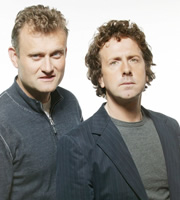 The Now Show. Image shows from L to R: Hugh Dennis, Steve Punt. Image credit: British Broadcasting Corporation.