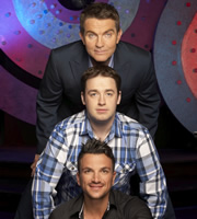 Odd One In. Image shows from L to R: Bradley Walsh, Jason Manford, Peter Andre. Image credit: Zeppotron.