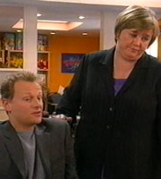 Office Gossip. Image shows from L to R: Simon (Neil Stuke), Jo (Pauline Quirke). Image credit: British Broadcasting Corporation.