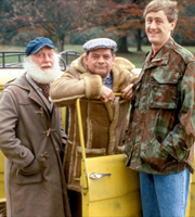Only Fools And Horses. Image shows from L to R: Uncle Albert (Buster Merryfield), Del (David Jason), Rodney (Nicholas Lyndhurst). Image credit: British Broadcasting Corporation.