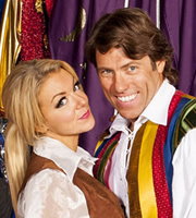Panto!. Image shows from L to R: Tamsin Taylor (Sheridan Smith), Lewis Loud (John Bishop). Image credit: Baby Cow Productions.