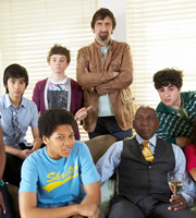 Parents Of The Band. Image shows from L to R: Adi Kundra (Michael Karim), Granville Cunningham (Franz Drameh), Jack Parker (Peter Losasso), Phil Parker (Jimmy Nail), Ashton Cunningham (Colin McFarlane), Eddie Soutakis (David Barseghian). Image credit: British Broadcasting Corporation.