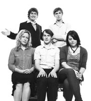 Party. Image shows from L to R: Mel (Anna Crilly), Duncan (Tim Key), Jared (Jonny Sweet), Simon (Tom Basden), Phoebe (Katy Wix). Image credit: British Broadcasting Corporation.