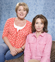 Pat & Cabbage. Image shows from L to R: Pat (Barbara Flynn), Cabbage (Cherie Lunghi). Image credit: Red Production Company.