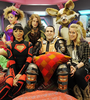 Pixelface. Image shows from L to R: Kiki Nova (Hannah Job), Alexia (Karen David), Aethelwynne (Will Andrews), Sgt Riley (Gareth Tunley), Rex Dynamo (David Armand), Claireparker (Anna Crilly). Image credit: So Television.