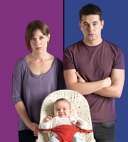 Pramface. Image shows from L to R: Laura Derbyshire (Scarlett Alice Johnson), Jamie Prince (Sean Michael Verey). Image credit: British Broadcasting Corporation.