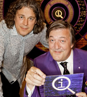 QI. Image shows from L to R: Alan Davies, Stephen Fry. Image credit: TalkbackThames.