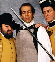 Revolting People. Image shows from L to R: Sergeant McGurk (Andy Hamilton), Samuel Oliphant (Jay Tarses), Captain Brimshaw (James Fleet). Image credit: British Broadcasting Corporation.