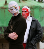 The Rubberbandits. Image shows from L to R: Mr Chrome (Bob McGlynn), Blindboy Boat Club (Dave Chambers). Copyright: Sideline Productions.