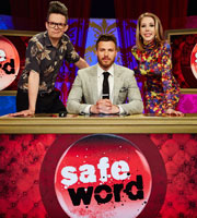 Safeword. Image shows from L to R: David Morgan, Rick Edwards, Katherine Ryan. Image credit: STV Productions.