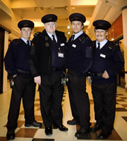The Security Men. Image shows from L to R: Jimmy (Brendan O'Carroll), Kenneth (Peter Wight), Ray (Dean Andrews), Duckers (Bobby Ball). Copyright: ITV Studios.