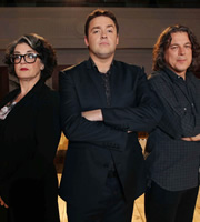 Show Me The Funny. Image shows from L to R: Kate Copstick, Jason Manford, Alan Davies. Image credit: Big Talk Productions.