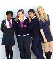 Some Girls. Image shows from L to R: Viva (Adelayo Adedayo), Holli (Natasha Jonas), Saz (Mandeep Dhillon), Amber (Alice Felgate). Copyright: Hat Trick Productions.