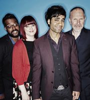 Stand Up For The Week. Image shows from L to R: Romesh Ranganathan, Angela Barnes, Paul Chowdhry, Simon Evans. Image credit: Open Mike Productions.