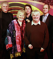 Stand-Up With The Stars. Image shows from L to R: Laurie Taylor, Libby Purves, Milton Jones, Peter White, Evan Davis. Image credit: British Broadcasting Corporation.
