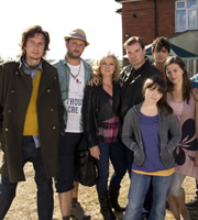 Starlings. Image shows from L to R: Uncle Loz (Matt King), Fergie (Steve Edge), Jan (Lesley Sharp), Terry (Brendan Coyle), Charlie (Finn Atkins), Gravy (John Dagleish), Bell (Rebecca Night). Image credit: Baby Cow Productions.